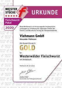 Gold Urkunde Fleischwurst 2020